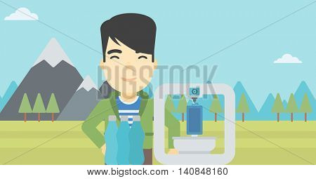 An asian young man standing near 3D printer on the background of mountains. Three D printer making a smartphone using recycled plastic bottles. Vector flat design illustration. Horizontal layout.