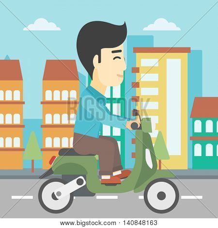 An asian young man riding a scooter on a city background. Young man driving a scooter in the street. Vector flat design illustration. Square layout.