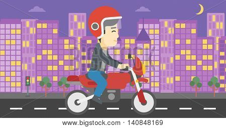 An asian young man in helmet riding a motorcycle on the background of night city. Man driving a motorbike on a city road. Vector flat design illustration. Horizontal  layout.