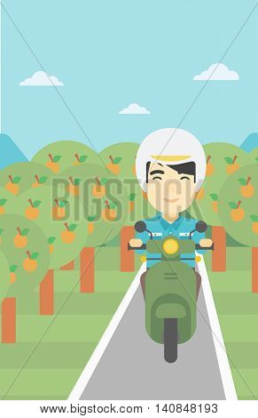 An asian young man riding a scooter on the asphalt road through the orchard. Young man in helmet driving a scooter. Vector flat design illustration. Vertical layout..