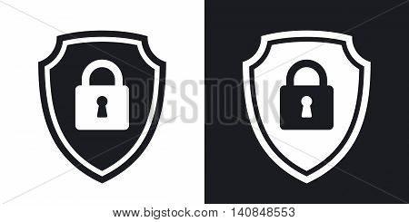 Two-tone Version Of Vector Protective Shield Icon With The Image Of A Padlock. Security Concept Simp