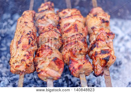 palatable barbecue fried in grill