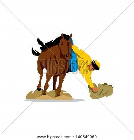 Nomad horseman missing sheep. Isolated on a White Background