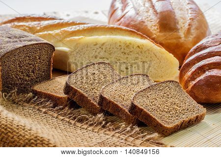 Rye Bread And White Long Loaf.