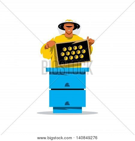Man in protective clothing with the cells in the hands stands near beehive. Isolated on a White Background