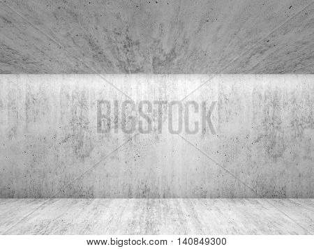 Abstract White Concrete Room Interior. Front View