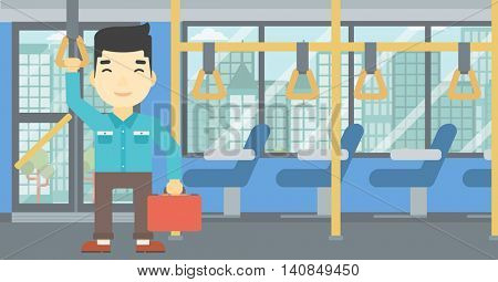 An asian young man traveling by public transport. Man traveling by passenger bus or subway. Vector flat design illustration. Horizontal  layout.