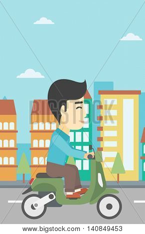 An asian young man riding a scooter on a city background. Young man driving a scooter in the street. Vector flat design illustration. Vertical layout.