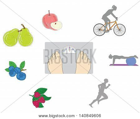 a person on the scales. around sport (jogging, cycling, fitness ball) and fruits (apple, pear, blueberry, raspberry) to help with obesity. vector illustration