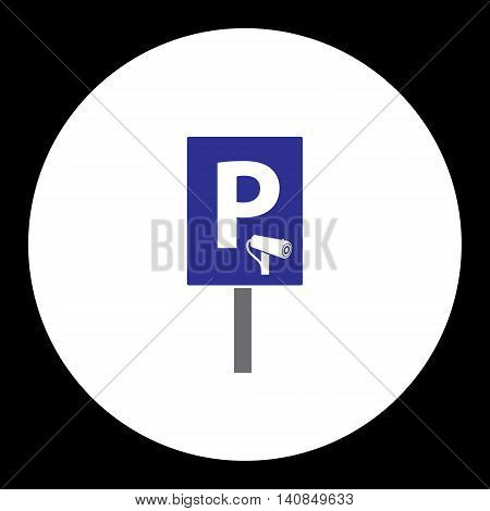Blue Road Sign For Guarded Car Parking Simple Isolated Icon Eps10
