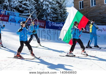 Bansko, Bulgaria - December 12, 2015: Opening new ski season 2015-2016 in Bansko, Bulgaria. Young skiers at slope