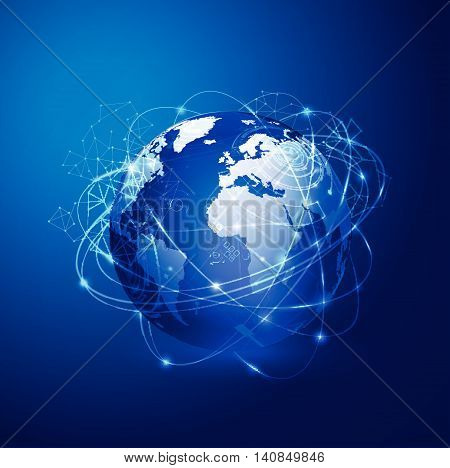 Global technology with mesh network concept, vector illustration