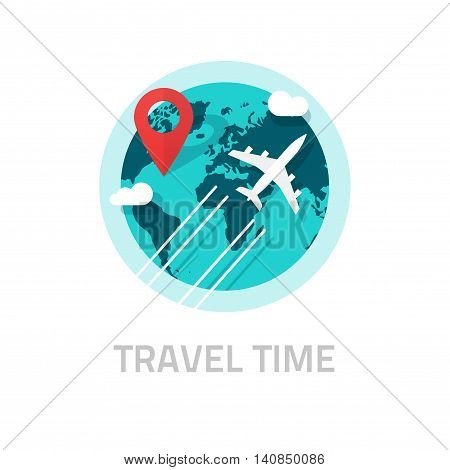 Travelling around the world by plane vector illustration isolated on white, travel and world trip logo idea, flat earth globe with airplane flying and location map pin pointer journey destination