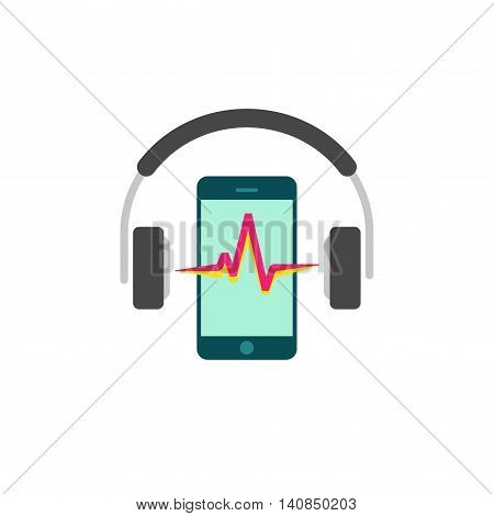 Online mobile music vector icon isolated on white background, flat mobile phone in headphones and sound wave, concept of audio technology music player logo