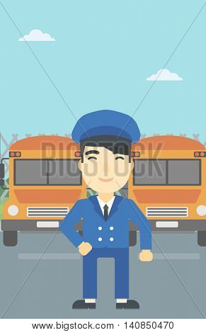 An asian school bus driver standing in front of yellow bus. Vector flat design illustration. Vertical layout.