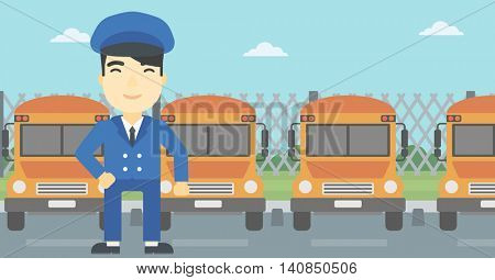 An asian school bus driver standing in front of yellow bus. Vector flat design illustration. Horizontal  layout.