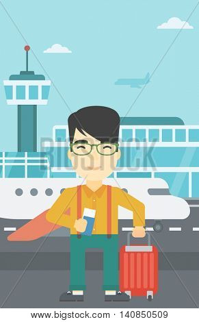 An asian man with suitcase holding a passport with ticket at the airport. Young man waiting for a flight at the airport. Vector flat design illustration. Vertical layout.