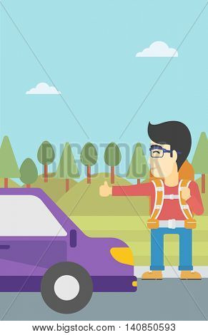 An asian young man with backpack hitchhiking on roadside. Hitchhiking man trying to stop a car on the road. Vector flat design illustration. Vertical layout.