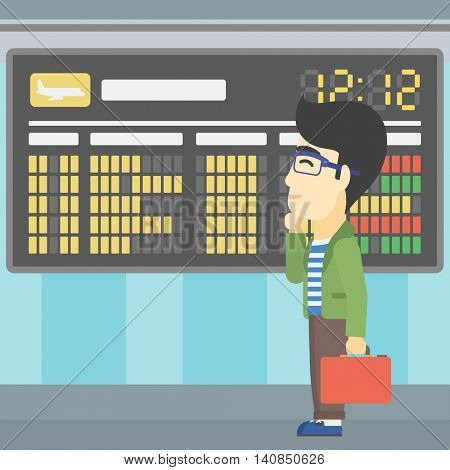 An asian young man with a briefcase looking at departure board at the airport. Passenger standing at the airport in front of departure board. Vector flat design illustration. Square layout.