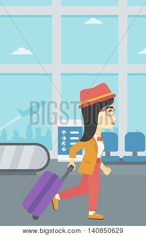An asian young woman with a suitcase walking at the airport. Vector flat design illustration. Vertical layout.
