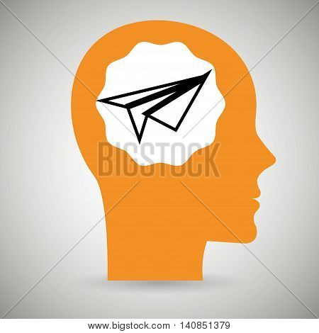 silhouette head aeroplane paper vector illustration eps 10