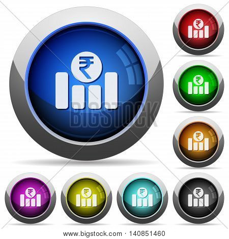 Set of round glossy Indian Rupee graph buttons. Arranged layer structure.