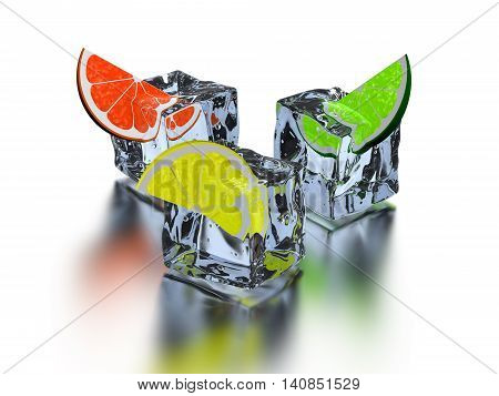 3D illustration three segments citrus frozen in icy cube