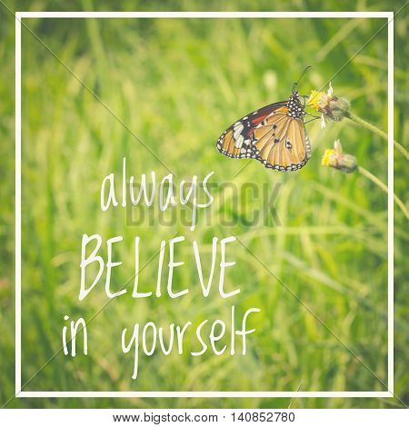 Inspirational quote : Always believe in yourself on natural background