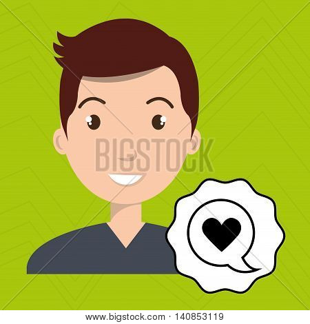 man adul young heart vector illustration eps 10