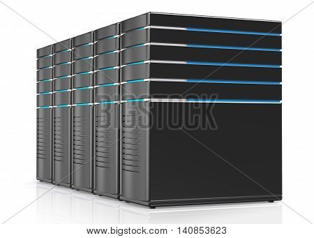 3D illustration of network workstation servers isolated on white background.