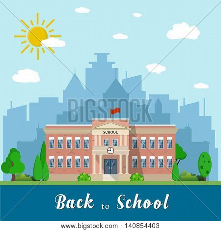 Welcome back to school. School building, front yard with students children with city landscape. Vector illustration in flat style