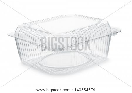 Empty transparent plastic food container isolated on white