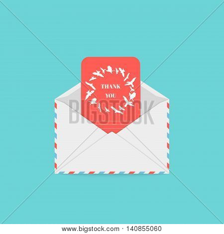 Envelope and thank you greeting card with flying flock of birds. Romantic label. Correspondence, personal communication, email concept design. Isolated vector illustration.
