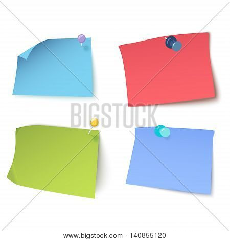 Set of multicolored stickers with pins and thumbtacks on white background. Sticky notes with curled corners. Pins stationery products. Vector illustration.
