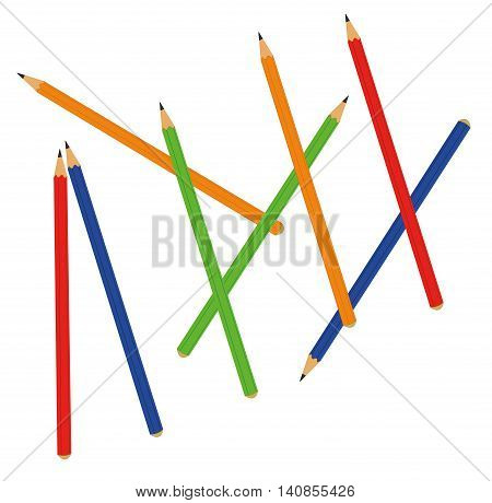 colored pencils scattered in the background. vector illustration