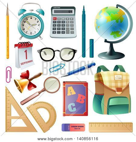 Back to school supplies icons collection with classroom accessories schoolbag textbooks and alarm clock realistic vector illustration