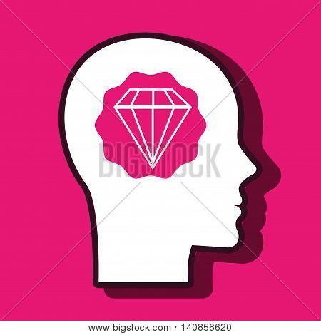 silhouette head diamond gem vector illustration eps 10