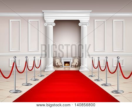 Victorian style hall with red carpet silvery barriers armchairs and fireplace realistic vector illustration