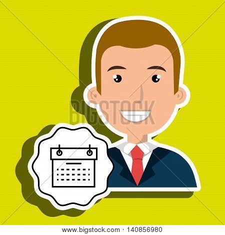 man adul young person calendar vector illustration