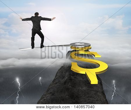 Man Balance On Clock Hands In Dollar Sign On Mountain