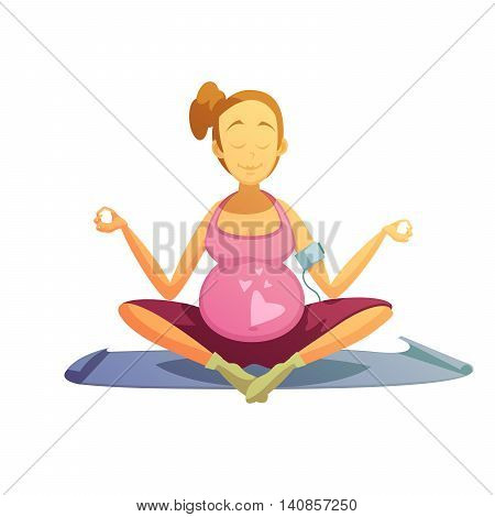 Yoga practice for pregnant women retro cartoon poster with best prenatal asana pose abstract vector illustration