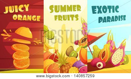 Exotic juicy tropical fruits vertical banners composition poster for summer vacation travelers cartoon style isolated vector illustration