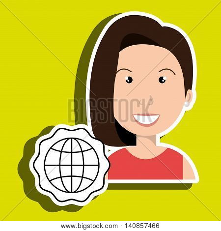 woman adul world connection vector illustrationeps 10