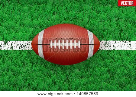 White line and american football ball on grass field. Closeup sport background. Editable Vector illustration Isolated on background.