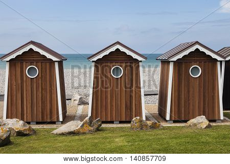 Brown beach shed in Normandy. Normandy France