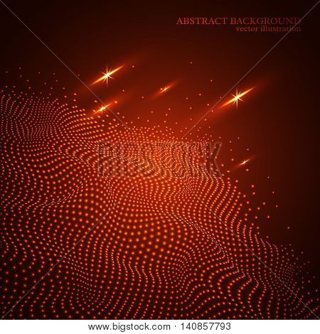 Abstract dotted glowing wave background 3d effect. Red colors. Technology digital background. Vector illustration.