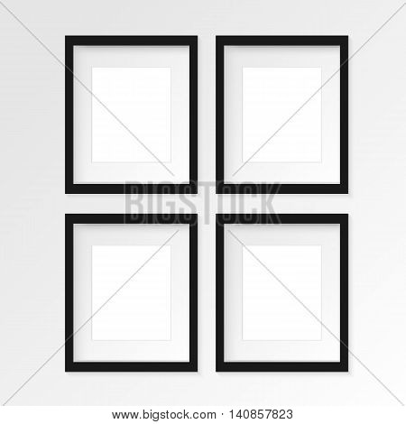 Set of 4 four Black vertical photo frame on gray wall with realistic shadows. Vector illustration. 2 rows and 2 columns