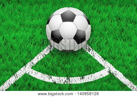 White line and soccer football ball on grass field. Closeup sport background. Editable Vector illustration Isolated on background.