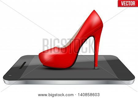 Concept of internet and shopping. Woman shoes on Smartphone. Electronic purse and Payment system and mobile technology. Vector Illustration isolated on white background.