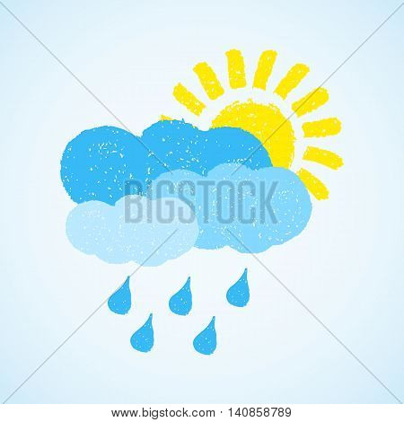 Sun, cloud and rain. Hand painted with oil pastel crayons. Weather forecast, autumn, climate, meteorology concept. Graphic design element for poster, greeting card, scrapbooking, children book